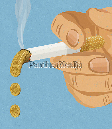 hand holding smoking cigarette dropping pound