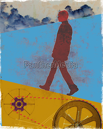 unmotivated businessman walking uphill above cogs