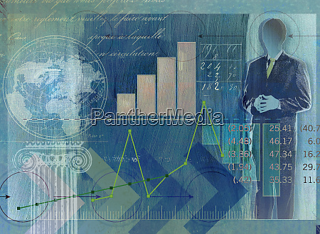 businessman globe data graphs and financial