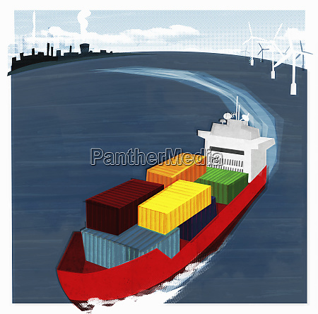 colorful container ship at sea leaving