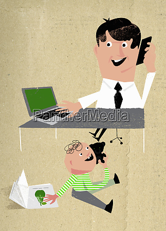 child imitating working father multitasking using