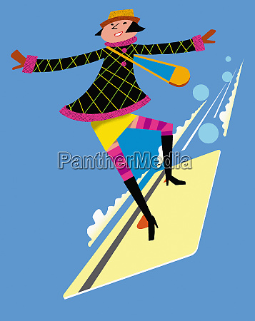 happy woman surfing on flying credit