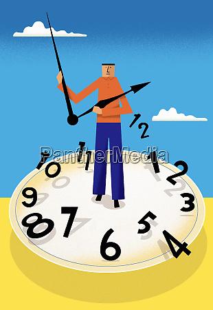 man standing on broken clock face