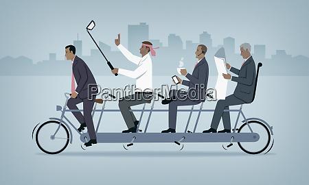 tandem bicycle with bad teamwork