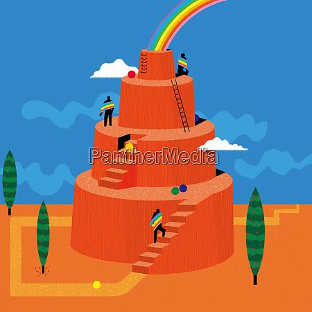 men climbing up tiers to reach