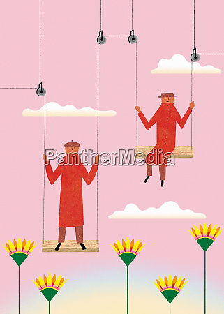 men on connected pulleys and swings