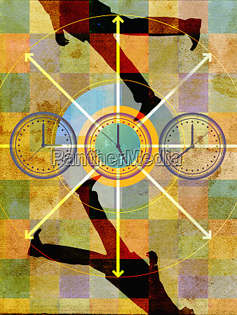 businessmen walking in circles around clocks