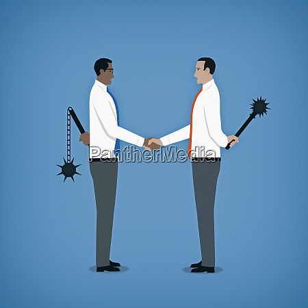 hypocritical businessmen shaking hands hiding weapons