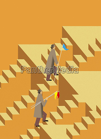 businessmen climbing staircase carrying flags