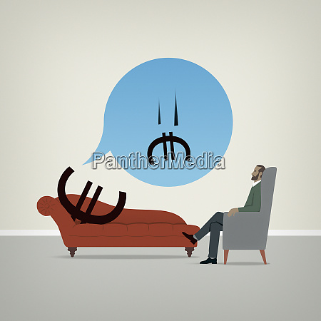euro sign on psychiatrists couch worrying