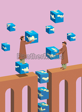 businessmen bridging gap with sky building