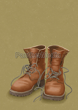 pair of leather work boots