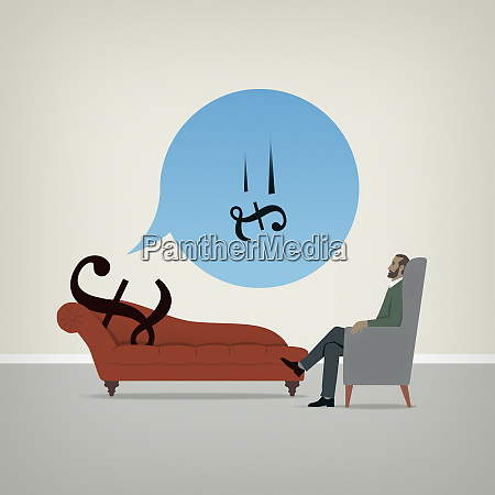 british pound sign on psychiatrists couch