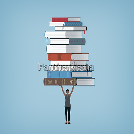 woman holding large pile of books