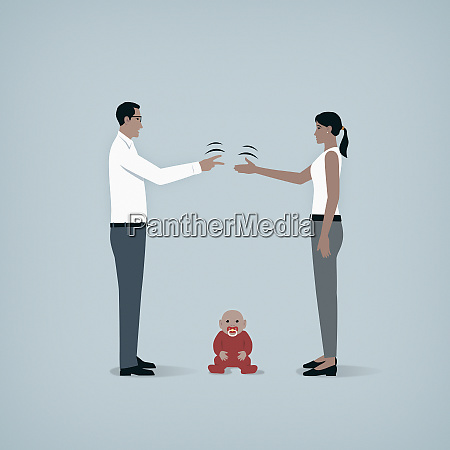 couple playing rock paper scissors over