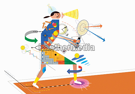 diagram analyzing technique of woman playing