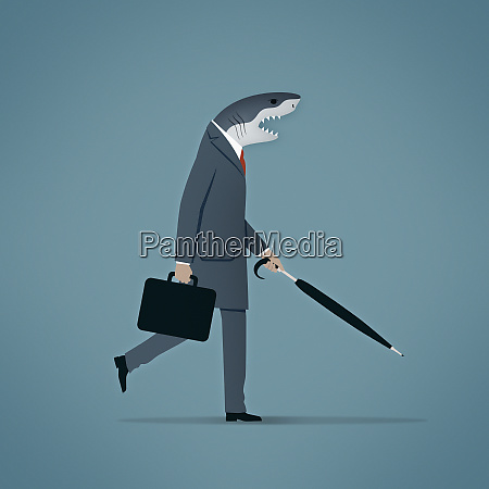businessman with shark head