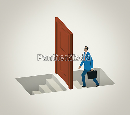 businessman climbing stairs approaching door to