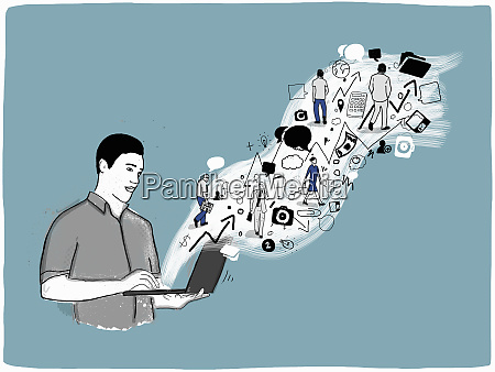 man holding open laptop with stream