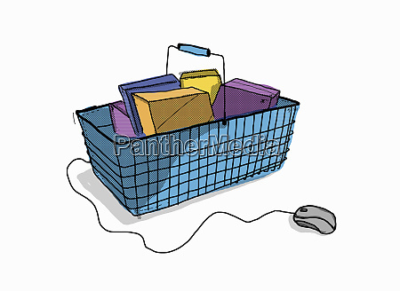 shopping basket with groceries connected to