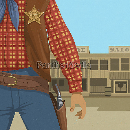 close up of wild west sheriff