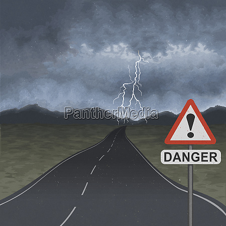 empty road with storm ahead and