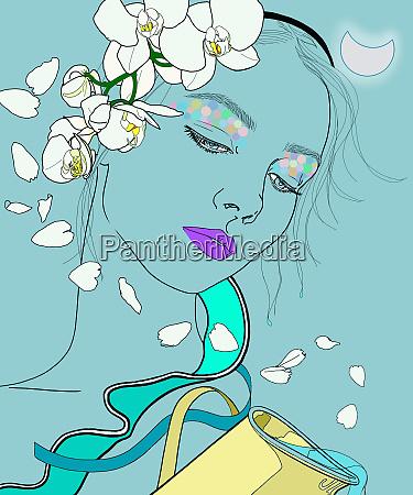 aquarius woman zodiac sign with flowers