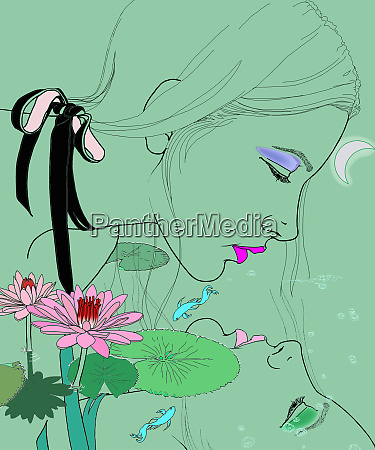 pisces woman zodiac sign looking at