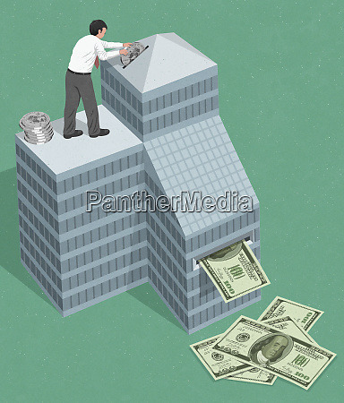 businessman investing dollars in business and