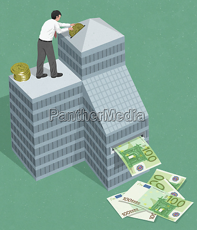 businessman investing euros in business and