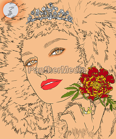 leo woman zodiac sign with tiara