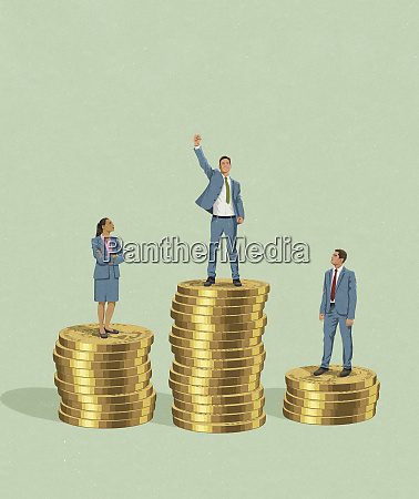 businessman standing on top of more