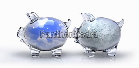 transparent blue sky piggy bank contrasting
