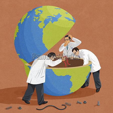 puzzled scientists mending broken globe