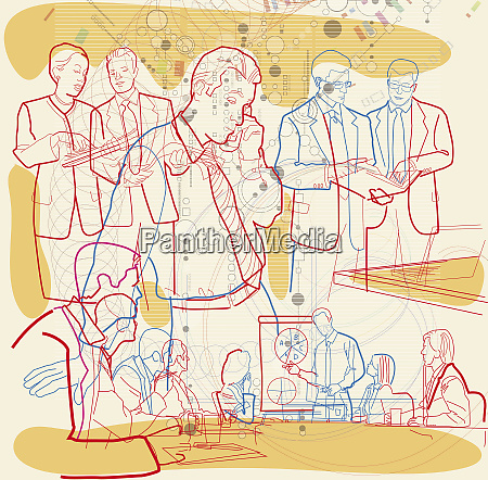 montage of businesspeople and communication