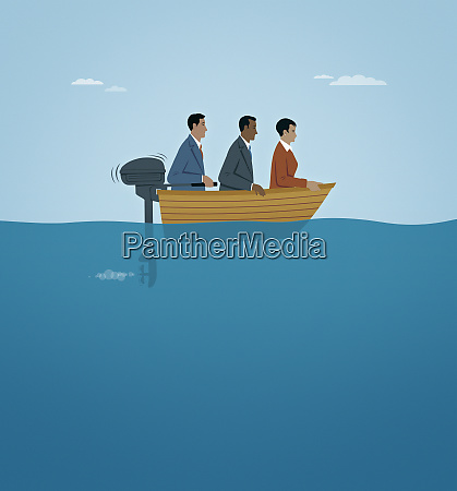 three business people moving slowly in