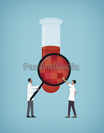 scientists examining chemical in test tube