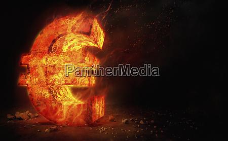 red hot burning metal euro sign