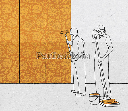 men painting wall with floral wallpaper
