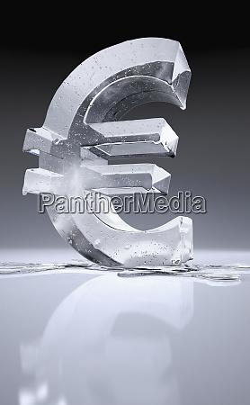 melting frozen euro sign