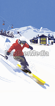 woman skiing down slope in ski