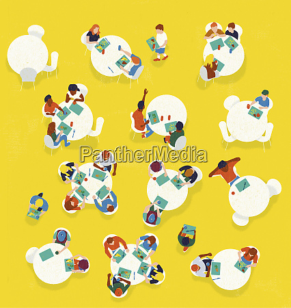 overhead view of children eating lunch