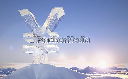frozen yen sign on top of