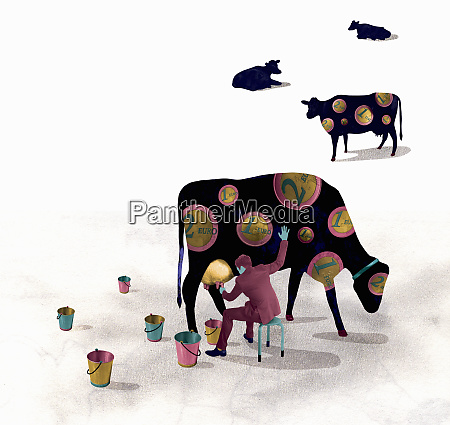 businessman milking cash cow covered in