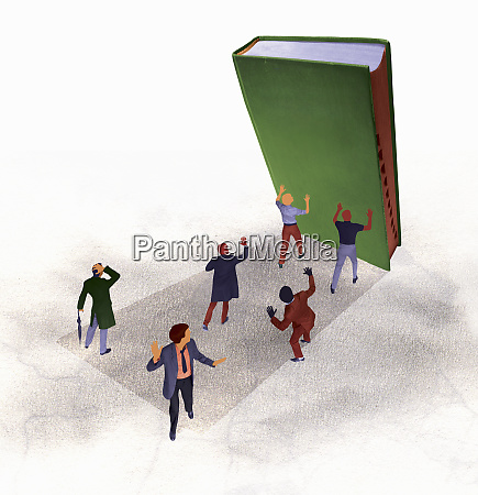 large book falling on to frightened