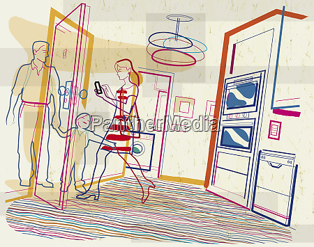 woman leaving house with family checking