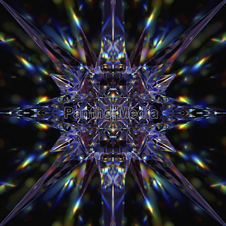 abstract symmetrical pattern of multicolored light