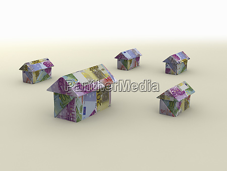 houses made from euro banknotes money