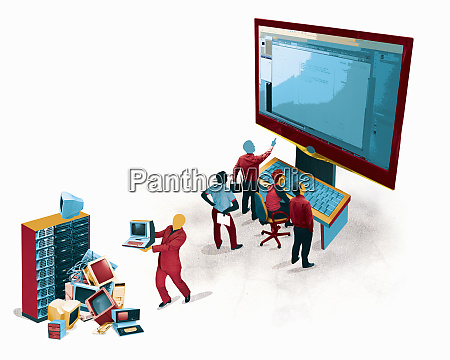 business people admiring new large computer