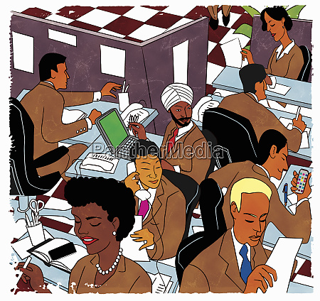 busy multiethnic office workers